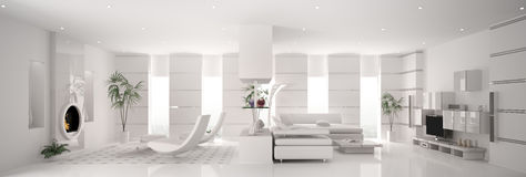 White apartment panorama interior 3d Royalty Free Stock Images