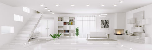 White apartment panorama interior 3d render Stock Photography
