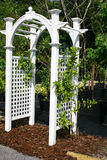 White Arbor. White painted arbor with latticework for vines and flowers Stock Photography