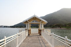 A white arbor on the lakes Stock Image