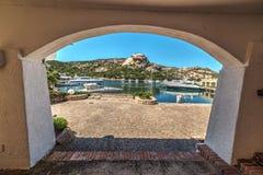 White arch in Poltu Quatu. Arcade in Poltu Quatu, Sardinia Royalty Free Stock Image