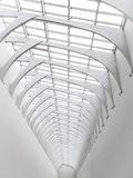 White arch of steel and glass, view far perspective. Royalty Free Stock Photos