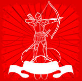 White Archer On Red. Ornate Background. Vector Illustration. No Meshes Royalty Free Stock Images