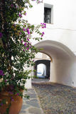 The white arches. Picture of an old and vintage alley in Cadaques with two white arches and a beautiful plant with its urple flowers Royalty Free Stock Photography