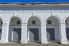 White arches. Grey gates and windows Royalty Free Stock Photography