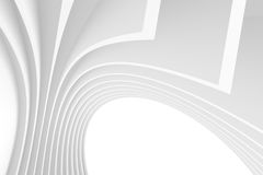 White Architecture Circular Background. Abstract Tunnel Design. 3d Architecture Render. Futuristic Building Construction Royalty Free Stock Photos