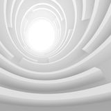 White Architecture Circular Background. Abstract Tunnel Design. 3d Architecture Render. Futuristic Building Construction Royalty Free Stock Images