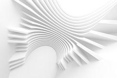 White Architecture Circular Background. Modern Building Design. Abstract Curved Shapes. 3d Rendering Stock Images