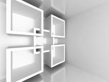 White Architecture Design Geometric Background. 3d Render Illustration Royalty Free Stock Image