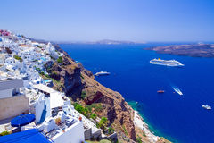 White architecture of Fira town on Santorini island Stock Photos