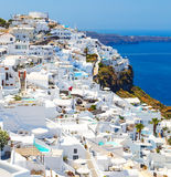 White architecture of Fira town on Santorini island, Greece. Beautiful landscape with sea view Royalty Free Stock Images
