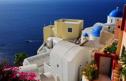 White Architecture Of Oia Village On Santorini Island, Greece Royalty Free Stock Images