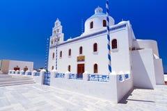 White church of Oia town on Santorini island. White architecture of Oia town on Santorini island, Greece Royalty Free Stock Photos