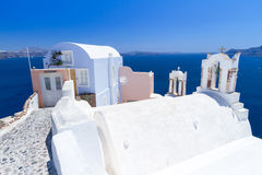 Architecture of Oia village on Santorini island Stock Photos