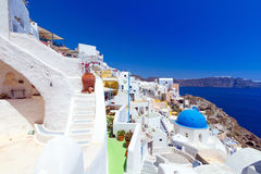 Architecture of Oia village on Santorini island Stock Image