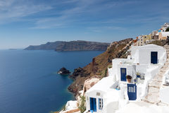 White architecture of Oia village Stock Images
