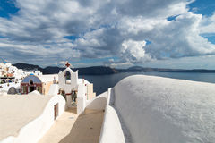 White architecture of Oia village on Santorini island, Greece. White architecture of Oia village on Santorini island Stock Photo