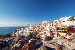White architecture of Oia village on Santorini island, Greece Royalty Free Stock Photos