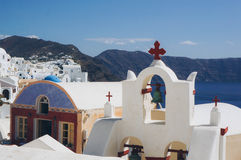White architecture of Oia village on Santorini island, Greece.  Royalty Free Stock Images