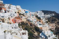 White architecture of Oia village on Santorini island, Greece.  Stock Images