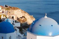 White architecture of Oia village. On Santorini island, Greece Royalty Free Stock Photo