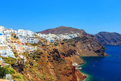 White architecture of Oia village on Santorini island, Greece. White architecture of Oia village on the Santorini island, Greece Royalty Free Stock Photo