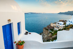 White architecture in Oia village. Santorini island, Greece Stock Photos
