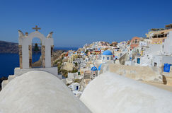 White architecture of Oia village on Santorini island, Greece. Oia village Santorini , Cylcades , Greece Royalty Free Stock Image