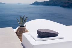 White architecture on Santorini, Greece. Beautiful landscape with sea view. Royalty Free Stock Image