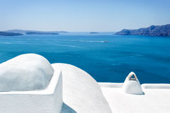 White architecture in Santorini island, Cyclades, Greece Royalty Free Stock Photos