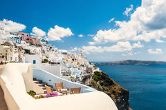 White architecture on Santorini island, Greece. Beautiful landscape with sea view Royalty Free Stock Image