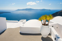 White architecture on Santorini island, Greece. Beautiful landscape with sea view Royalty Free Stock Photography