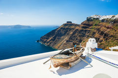 White architecture on Santorini island, Greece. Beautiful landscape with sea view Stock Image