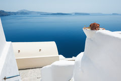 White architecture on Santorini island, Greece. Beautiful landscape with sea view Royalty Free Stock Images