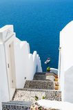 White architecture on Santorini island, Greece. Beautiful landscape with sea view Royalty Free Stock Photo