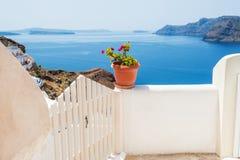 White architecture on Santorini island, Greece. Beautiful landscape with sea view Stock Image
