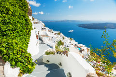 White architecture on Santorini island, Greece. Beautiful landscape with sea view Stock Images