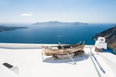 White architecture on Santorini island, Greece. Beautiful landscape with sea view Stock Photos