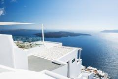 White architecture on Santorini island, Greece. Beautiful landscape with sea view Stock Photos