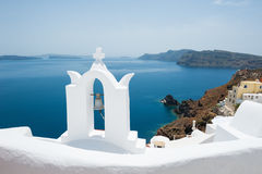 White architecture on Santorini island, Greece. Beautiful landscape with sea view Stock Photography