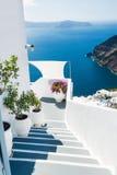 White architecture on Santorini island, Greece. Beautiful landscape, sea view Stock Images