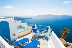 White architecture on Santorini island, Greece. Beautiful landscape, sea view Stock Photos