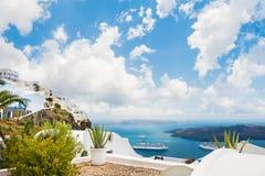 White architecture on Santorini island, Greece. Beautiful landscape, sea view Stock Image