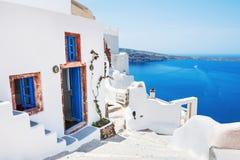 White architecture on Santorini island, Greece. Beautiful landscape with sea view Stock Photo