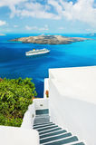 White architecture on Santorini island, Greece. Beautiful landscape, sea view Stock Photos