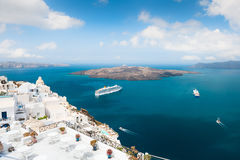 White architecture on Santorini island, Greece. Beautiful landscape, sea view Royalty Free Stock Images
