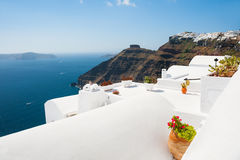 White architecture on Santorini island, Greece. Beautiful landscape, sea view Stock Images