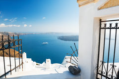 White architecture on Santorini island, Greece. Beautiful landscape, sea view Royalty Free Stock Photo