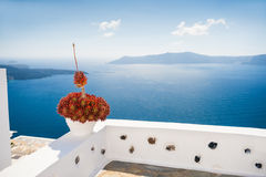 White architecture on Santorini island, Greece. Beautiful landscape with sea view. Selective focus Royalty Free Stock Images