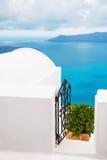 White architecture on Santorini island, Greece. Beautiful landscape with sea view. Selective focus Stock Photo